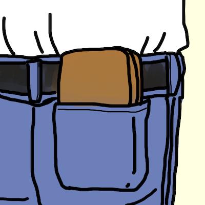 後ろポケットに財布を入れる男性